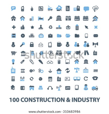 construction, industry icons - stock vector
