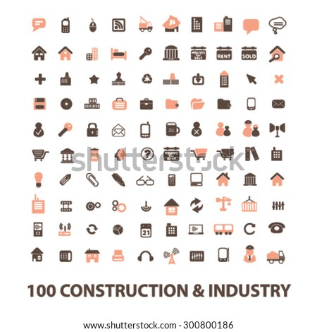 construction, industry, real estate isolated flat icons, signs, illustrations set, vector for web, application - stock vector
