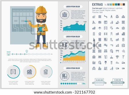 Construction infographic template and elements. The template includes illustrations of hipster men and huge awesome set of thin line icons. Modern minimalistic flat vector design. - stock vector