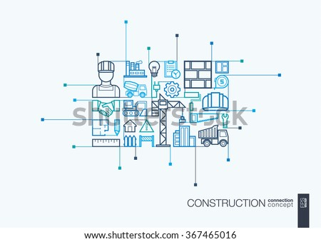Construction integrated thin line symbols. Modern linear style vector concept, with connected flat design icon. Abstract background illustration for build, industry, architectural, engineering concept - stock vector