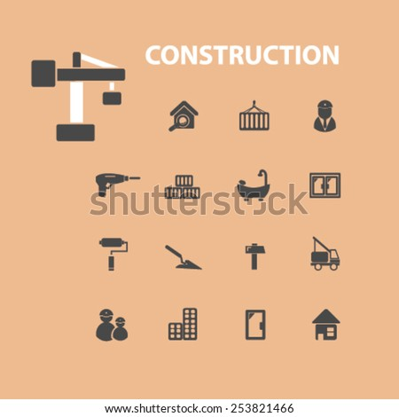 construction isolated flat icons, signs, symbols illustrations, images, silhouettes on background, vector - stock vector