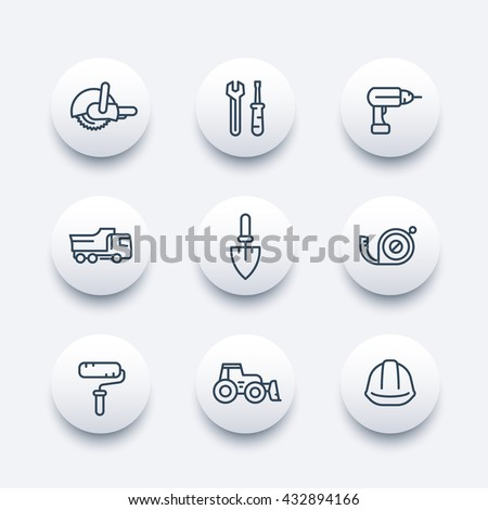construction line icons, construction equipment and tools linear pictograms, modern round icons, vector illustration - stock vector