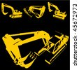 construction machine silhouette set - stock vector