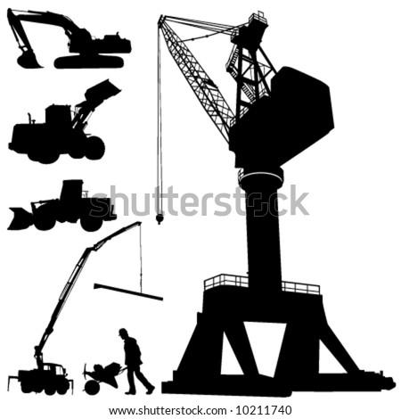 construction machines - stock vector