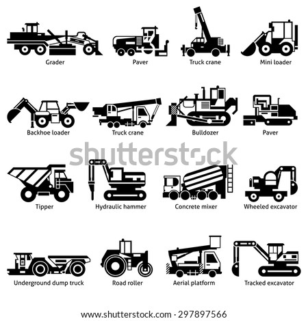 Construction machines and technics black white icons set with crane hammer and tipper flat isolated vector illustration  - stock vector