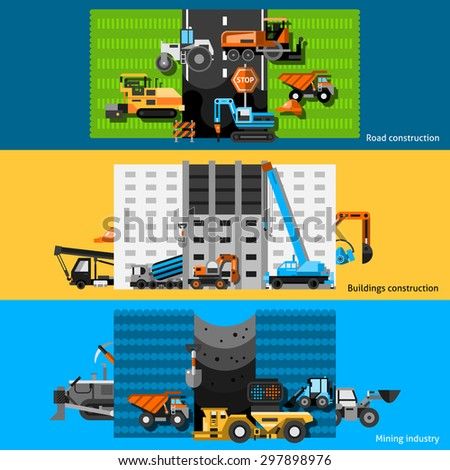 Construction machines horizontal banners set with excavators cranes and bulldozers flat isolated vector illustration  - stock vector