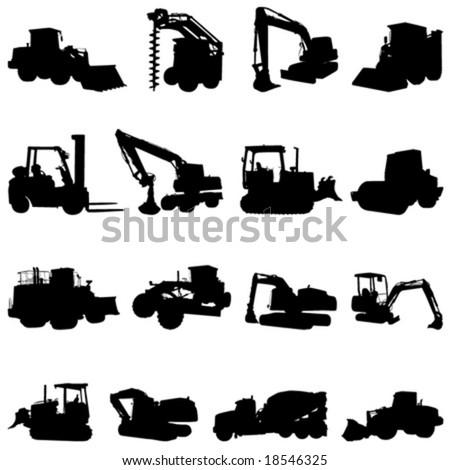 construction machines vector - stock vector