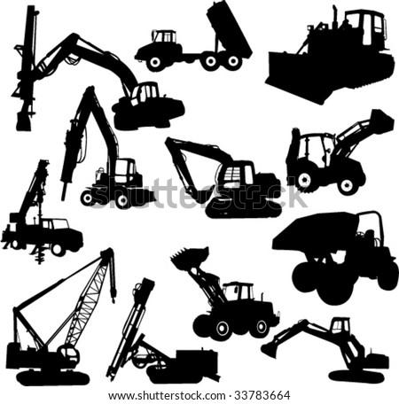 construction machines - vector - stock vector