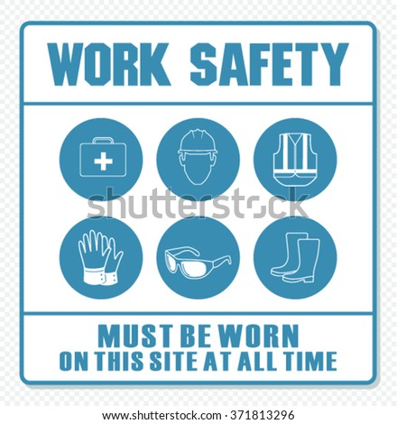Construction mandatory work and safety sign  - stock vector