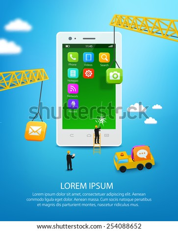 Construction mobile phone, smartphone user interface engineering and mobile application development - stock vector