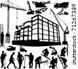 construction objects vector (crane - worker - building - skimmer) - stock photo
