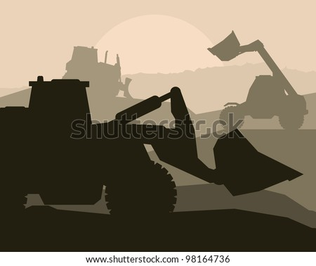 Construction objects with building machinery vector background - stock vector
