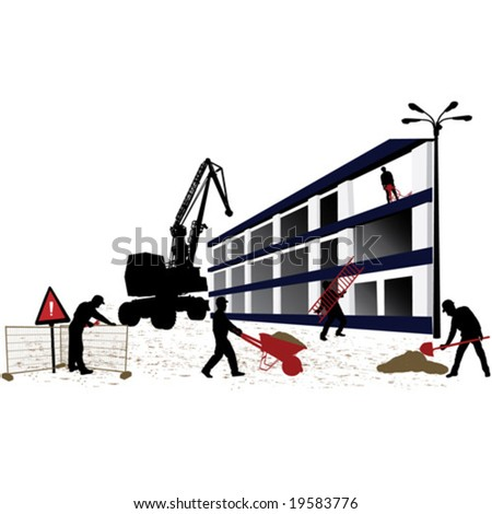 Construction objects - worker silhouettes - stock vector