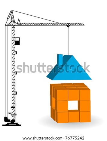 Construction of a building. Silhouettes of the cranes - stock vector