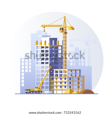 Construction of residential houses. Construction site concept design. Flat style vector illustration.