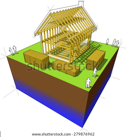 Construction of simple detached house with wooden framework construction - stock vector