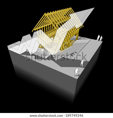 Construction of simple detached house with wooden framework construction with two rising business diagram arrows - stock vector