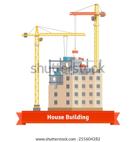 Construction of tenement house with two tower cranes lifting concrete slab and building materials. Flat style illustration or icon. EPS 10 vector. - stock vector