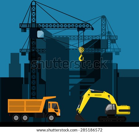 Construction of tenement house with two tower cranes lifting concrete slab and building materials. EPS 10 vector. - stock vector