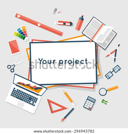 Construction planning process flat design. Architects workplace. Architecture planning on paper top view. Architectural project, architectural plan, technical project. Engineering for building houses. - stock vector