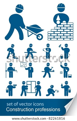 construction professions - stock vector