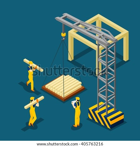 Construction project beginning with wooden frame isometric banner builders and crane at work abstract vector illustration - stock vector