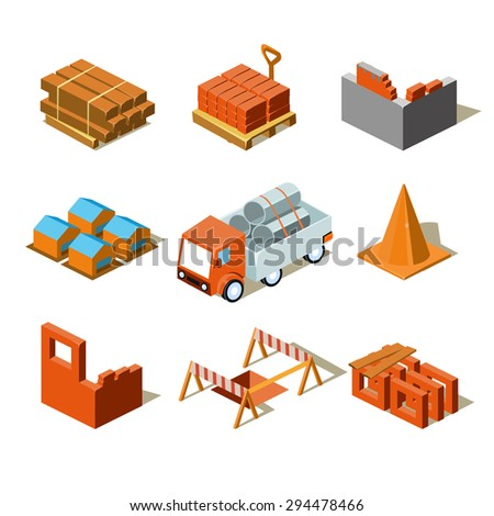 Construction project info graphic,detailed isometric vector illustration - stock vector