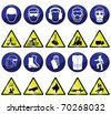 Construction related mandatory and hazards icons and signs individually layered - stock photo