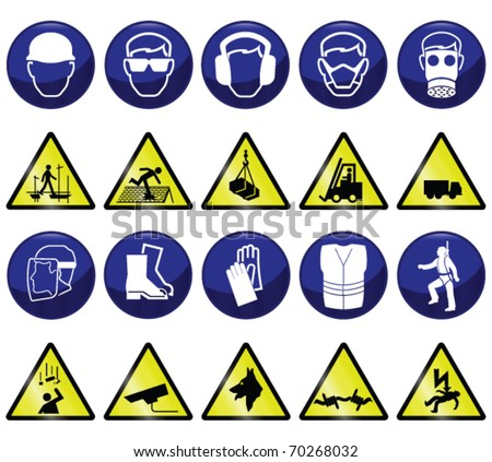 Construction related mandatory and hazards icons and signs individually layered - stock vector