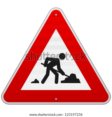 Construction Road Sign - Men at Work European sign as triangle shape with red border - stock vector