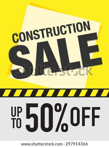 Construction sale sign up to 50% off - stock vector