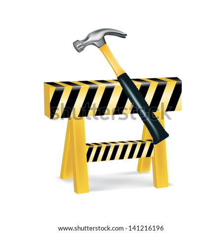 construction sign and hammer isolated