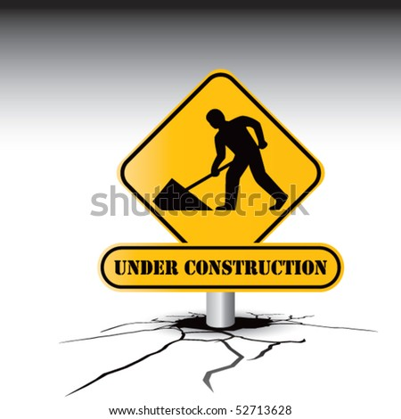 construction sign cracked ground - stock vector