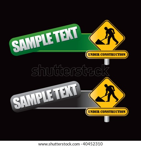 construction sign on tilted green and gray templates - stock vector
