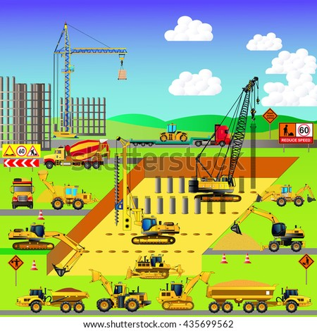 Construction site, building a house. Early stages. Vector illustration. Isometric style