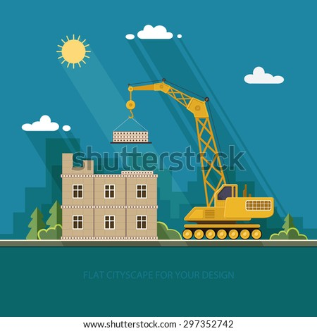 Construction site, building a house. Front apartment house. Flat style vector illustration. - stock vector