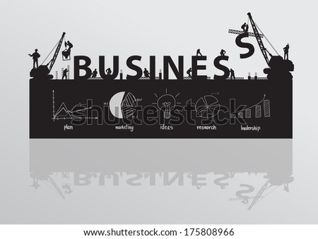 Construction site crane building business text idea concept, Vector illustration template design  - stock vector