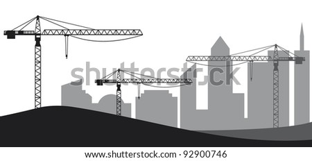 Construction site, cranes and silhouette of the city - stock vector
