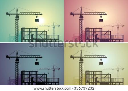 Construction site set - stock vector