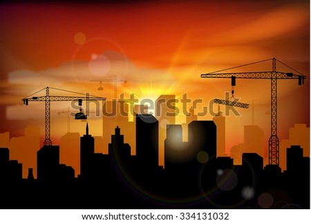 Construction site silhouette. vector - stock vector