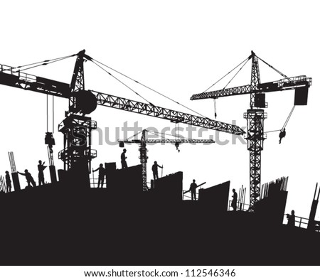 construction site silhouette  with cranes and workers - stock vector