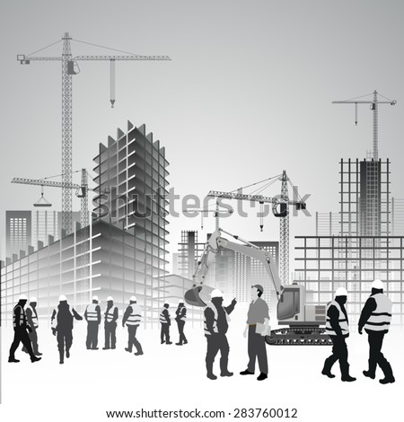 Construction site with cranes, excavator and workers. Vector illustration - stock vector