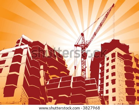 Construction site with cranes working - stock vector