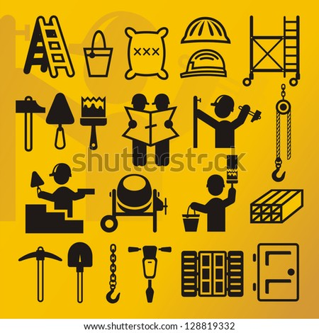 Construction symbols compilation - stock vector