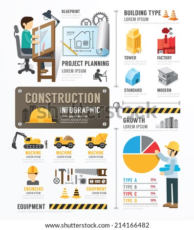 Construction Template Design Infographic . concept vector illustration - stock vector