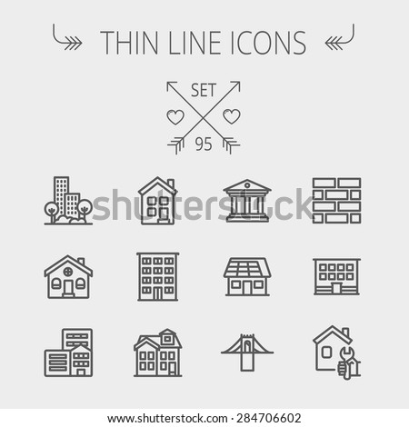 Construction thin line icon set for web and mobile. Set includes - museum, house with solar panel, bridge, building, bricks, hotel. Modern minimalistic flat design. Vector dark grey icon on light grey - stock vector