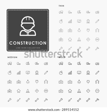construction thin, medium and bold line icons - stock vector