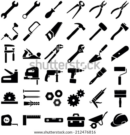Construction tool icon collection - vector illustration  - stock vector