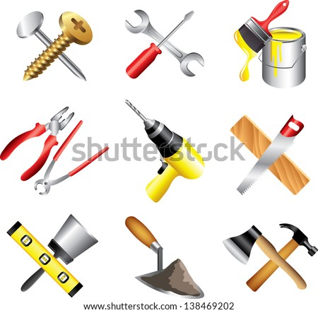 construction tools icons detailed vector set - stock vector