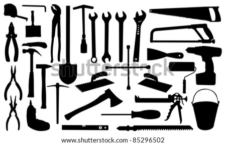 construction tools silhouettes - stock vector